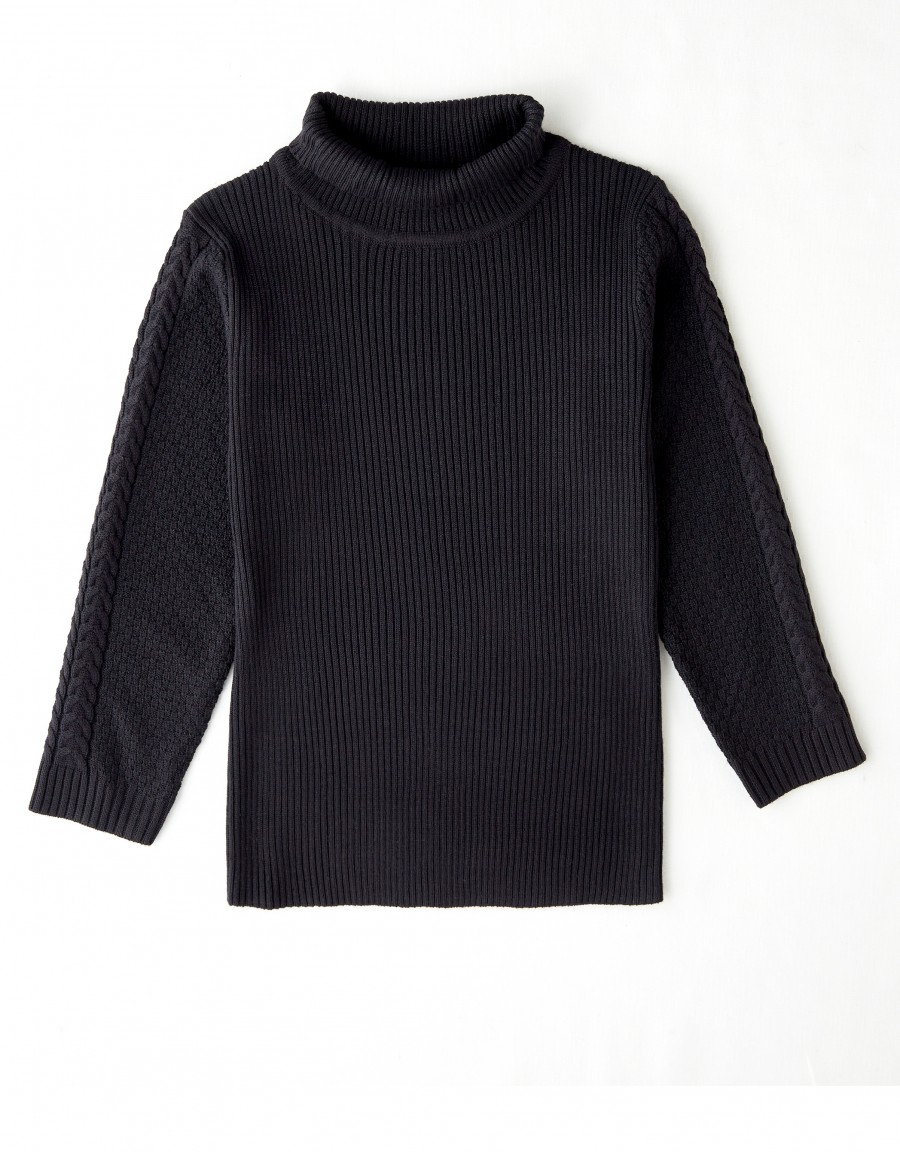 Kids Ribbed Cable Turtle Neck Sweater Black