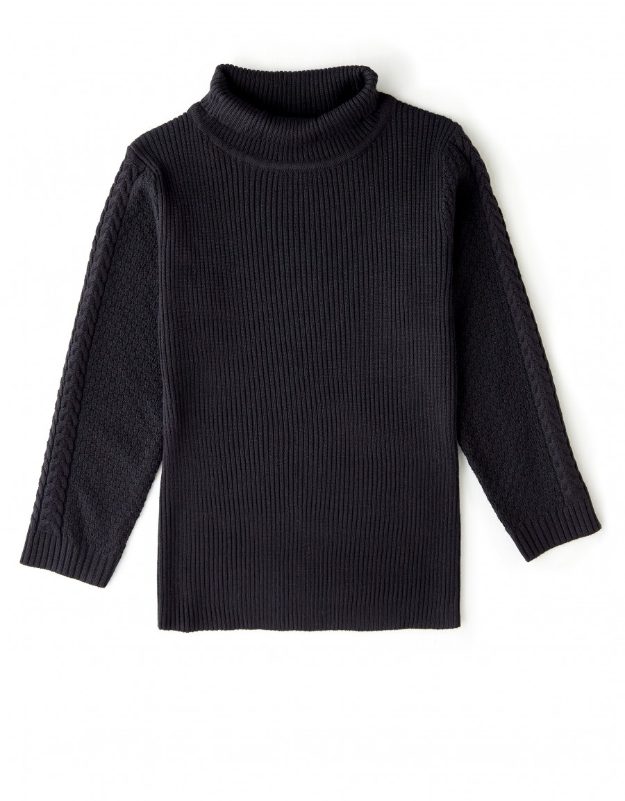 Ribbed Cable Turtle Neck Sweater Black