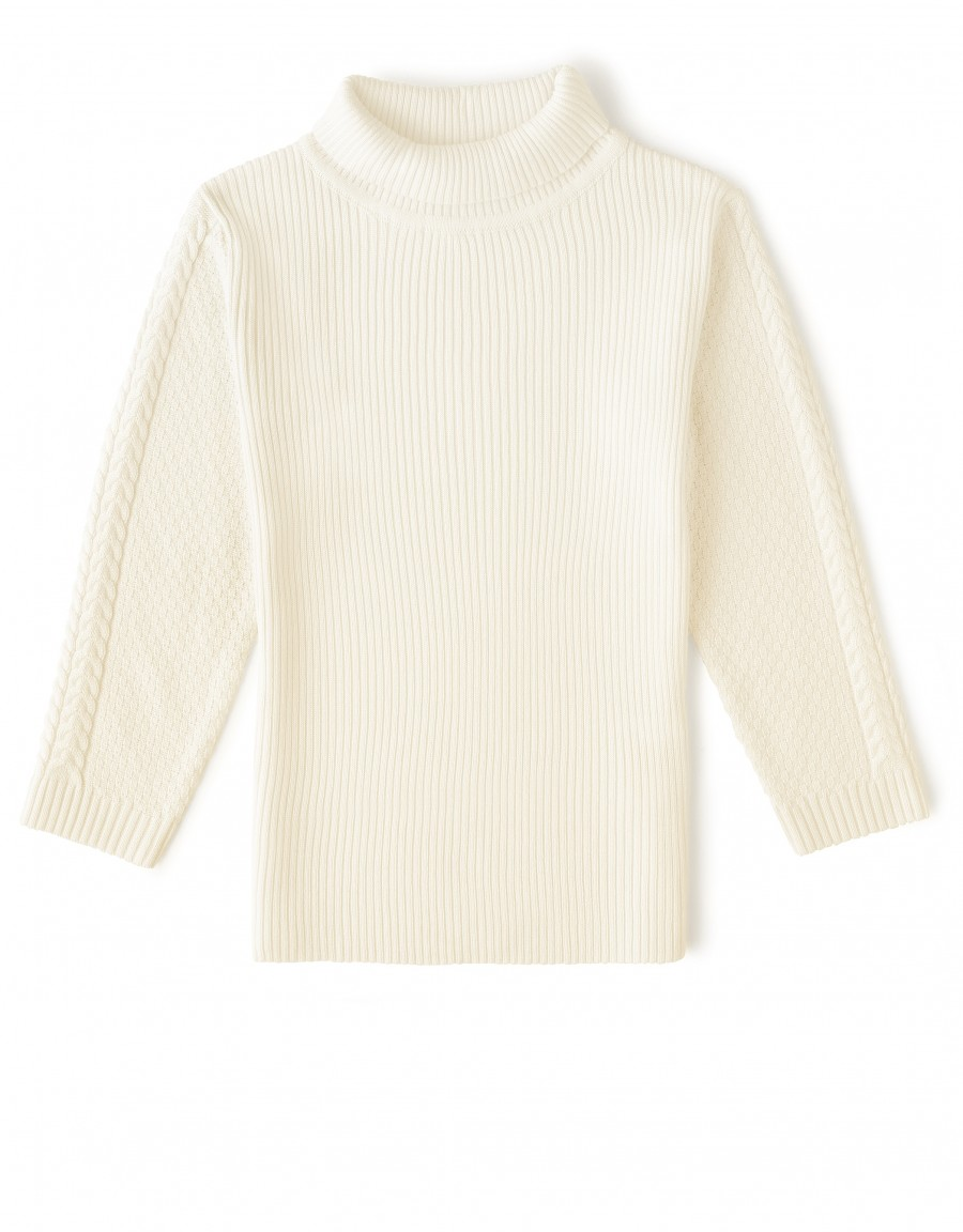 Ribbed Cable Turtle Neck Sweater Ivory