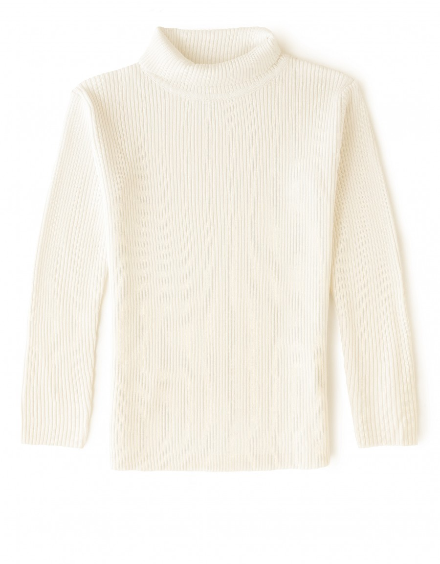 Kids Ribbed Turtle Neck Sweater Ivory