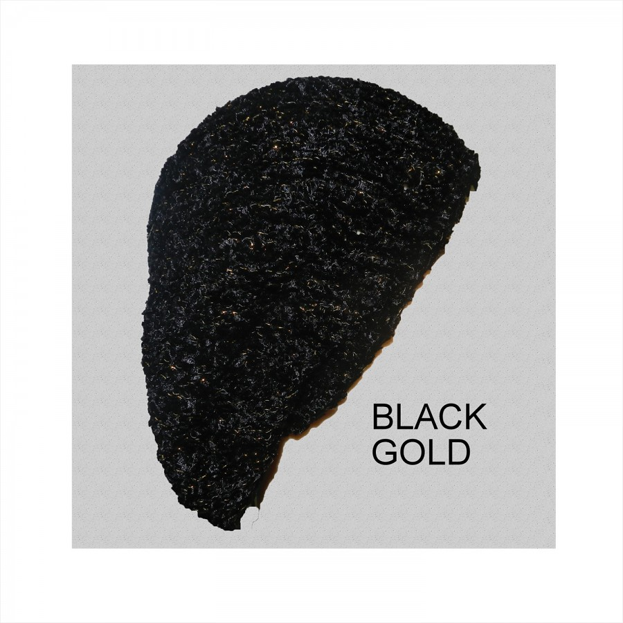 Chenille Snood Beret with Lurex Black Gold