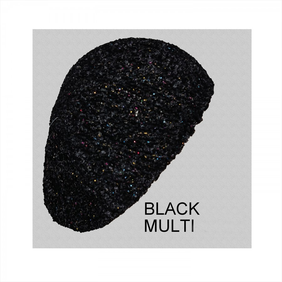 Chenille Snood Beret with Lurex Black Multi Color