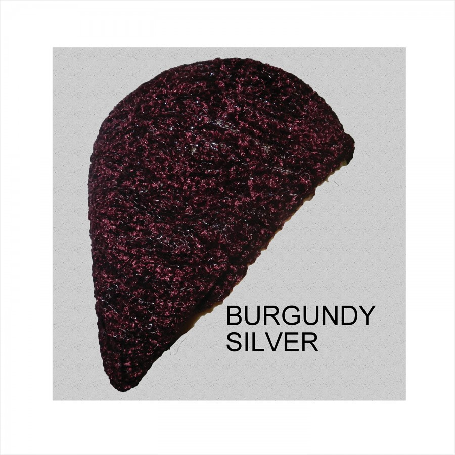 Chenille Snood Beret with Lurex Burgundy Silver