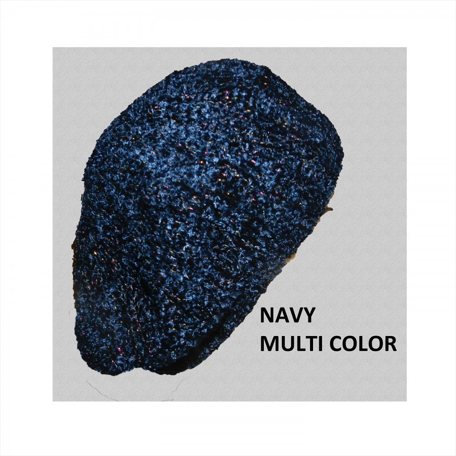 Chenille Snood Beret with Lurex Navy Multi