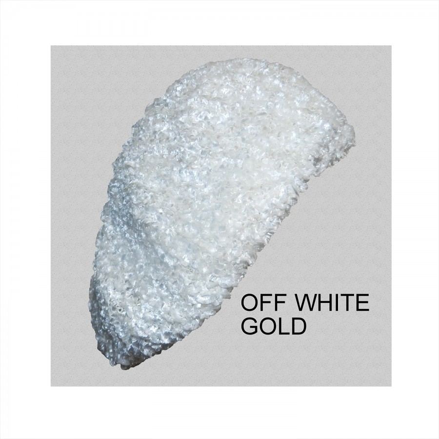 Chenille Snood Beret with Lurex Off-White Gold