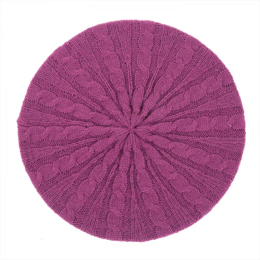 Cable Knit Snood Beret Fuchsia