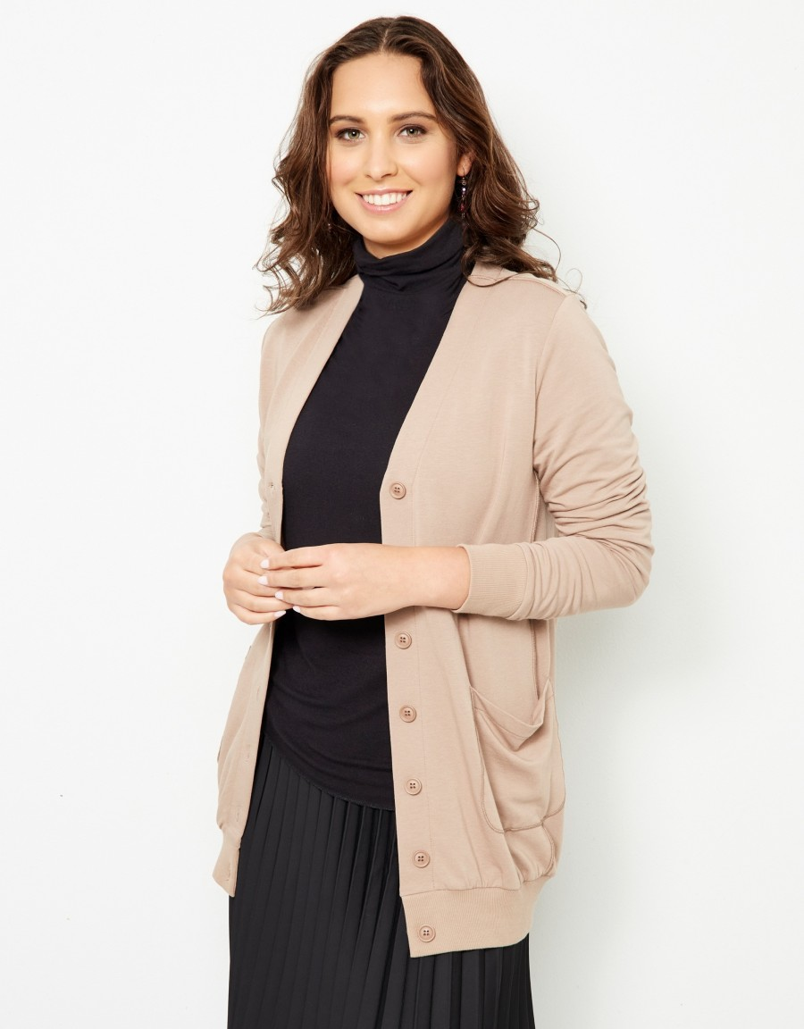 French Terry Long Pocket Cardigan Beige