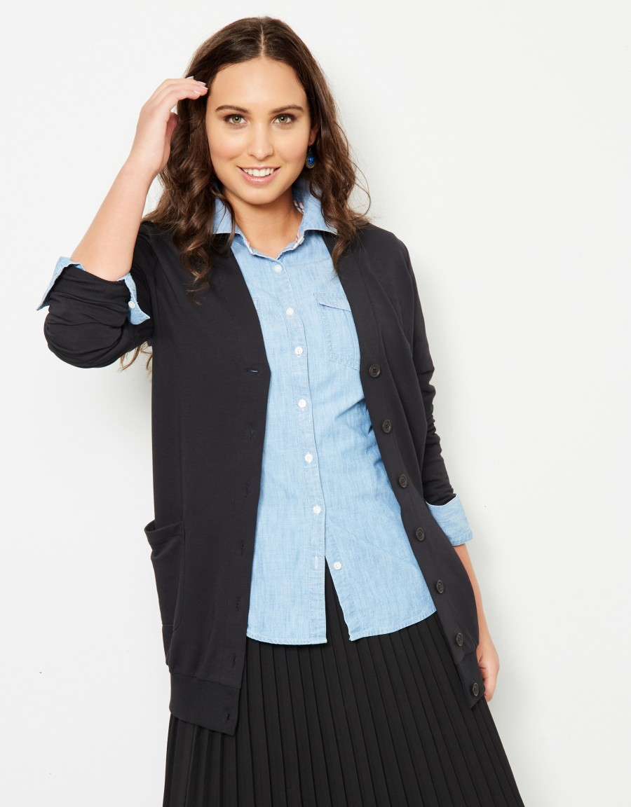 French Terry Long Pocket Cardigan Black