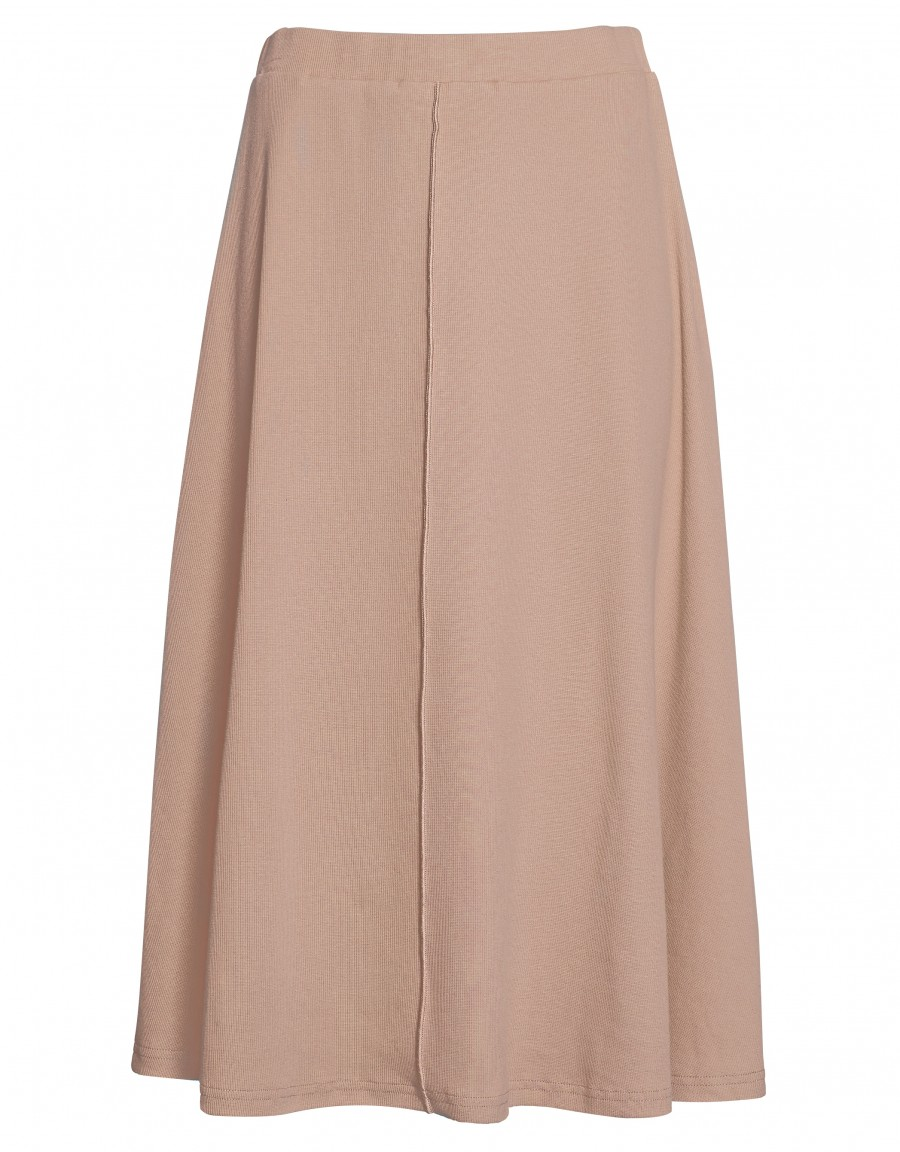 """29"""" Rib Knit Exposed Seam Skirt with Covered Elastic Waistband Mauve"""