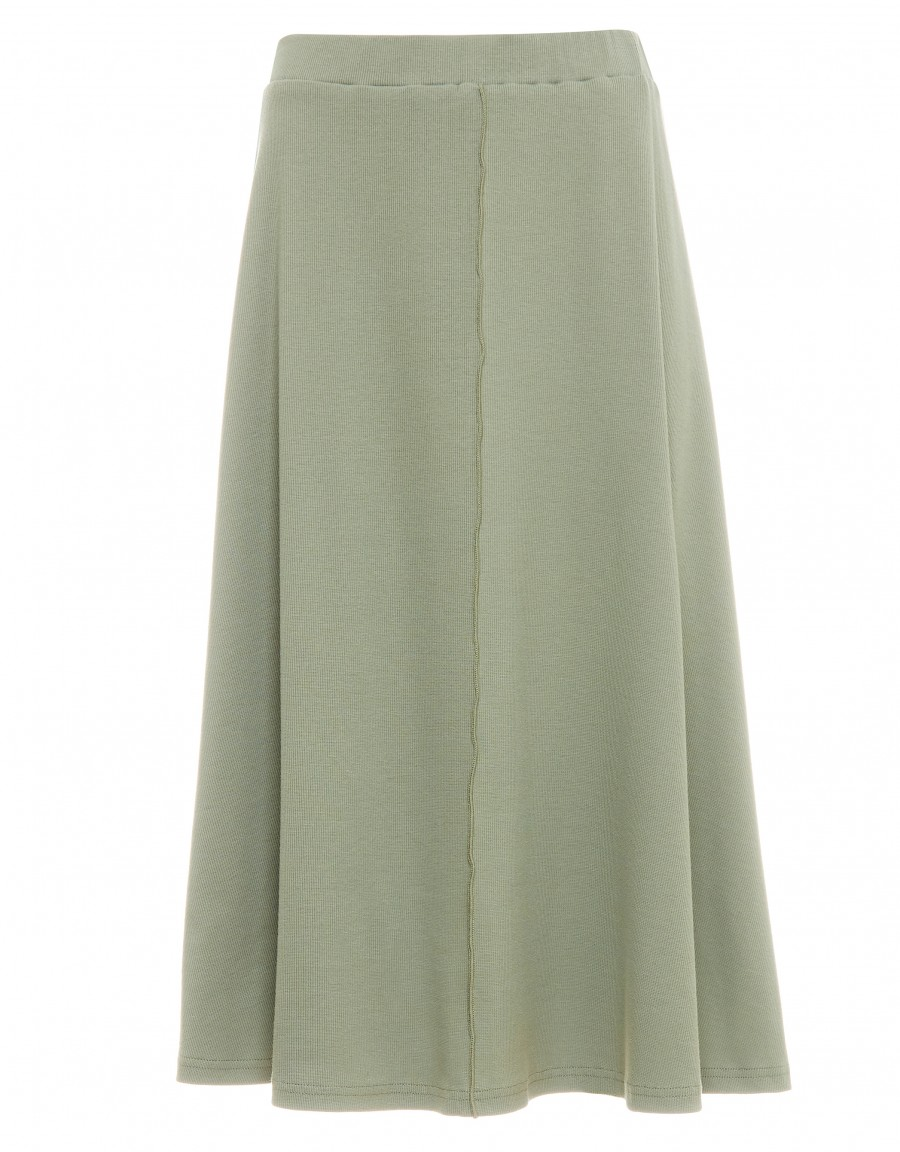"""29"""" Rib Knit Exposed Seam Skirt with Covered Elastic Waistband Sage"""