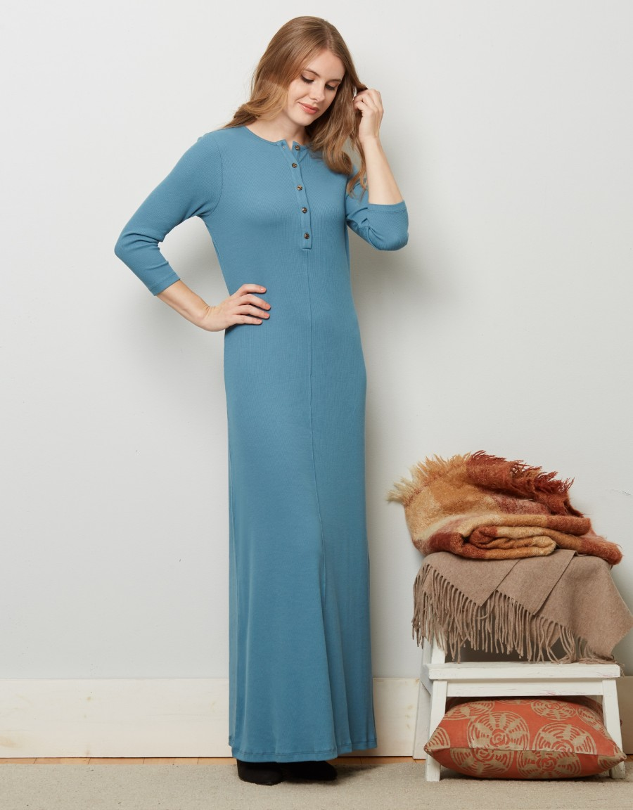 Button Front Ribbed Nightgown Aqua