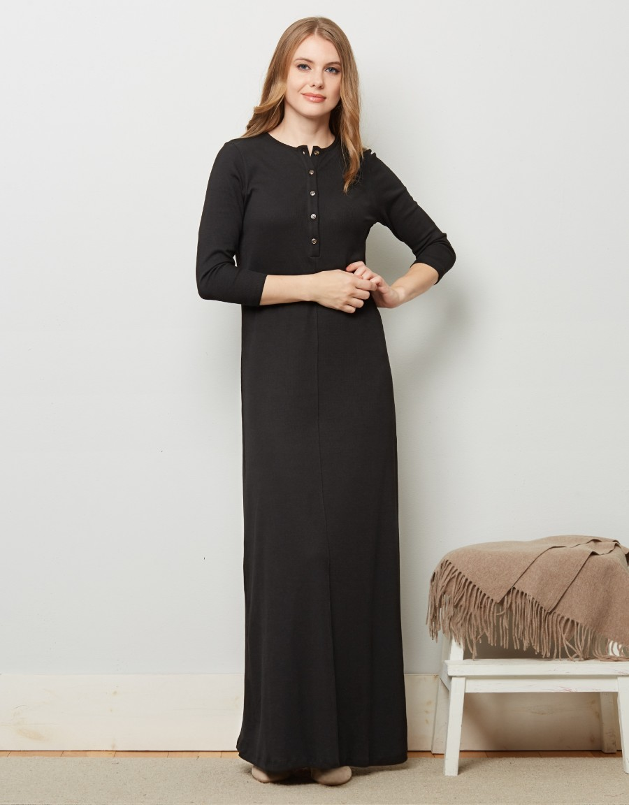 Button Front Ribbed Nightgown Black
