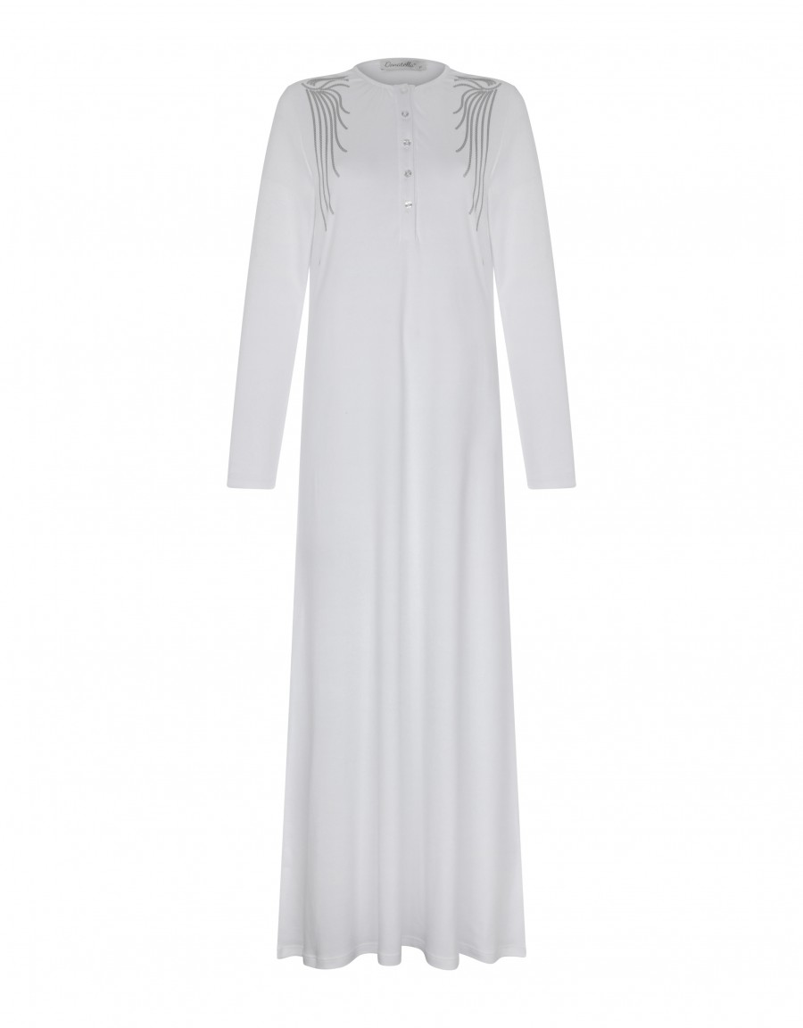 Button Front Nightgown with Shoulder Trim White