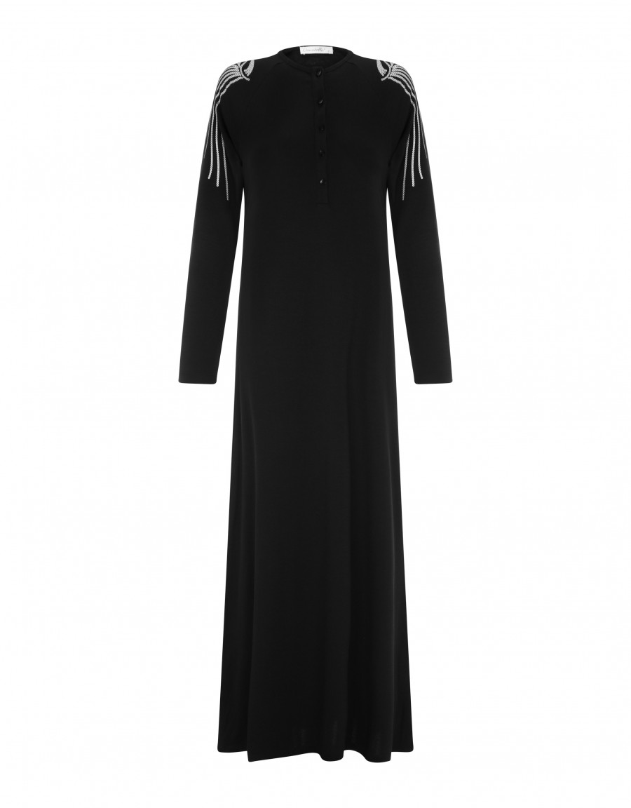 Button Front Nightgown with Sleeve Trim Black