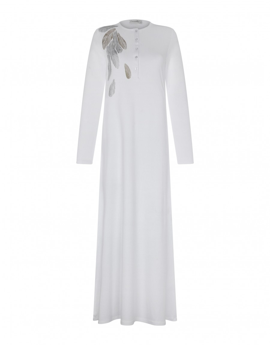 Button Front Nightgown with Feather Motif White