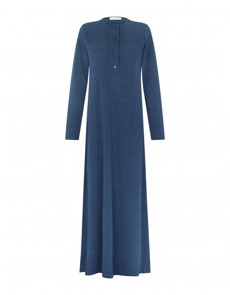 Button Front Nightgown with Craquelure Motif Blue