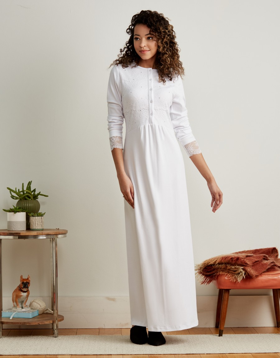 Button Front Nightgown with Lace