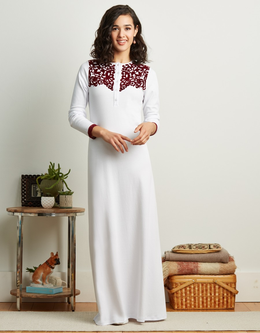 Button Front Nightgown with Flocked Design