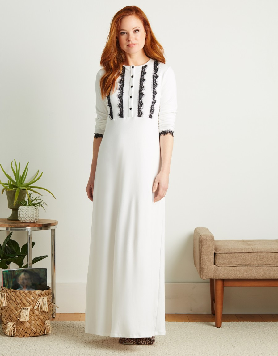 Button Front Nightgown with Lace Trim