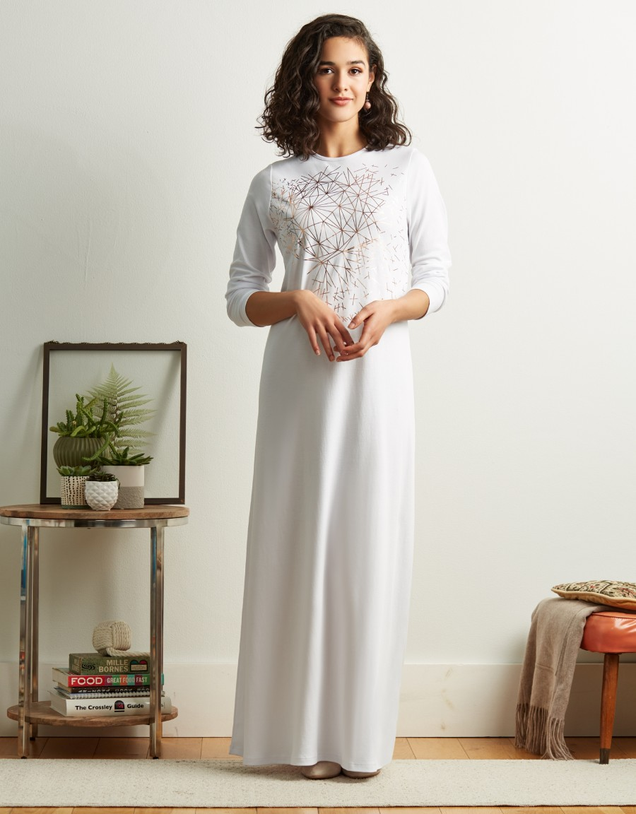 Pop On Nightgown with Gold Geometric Print