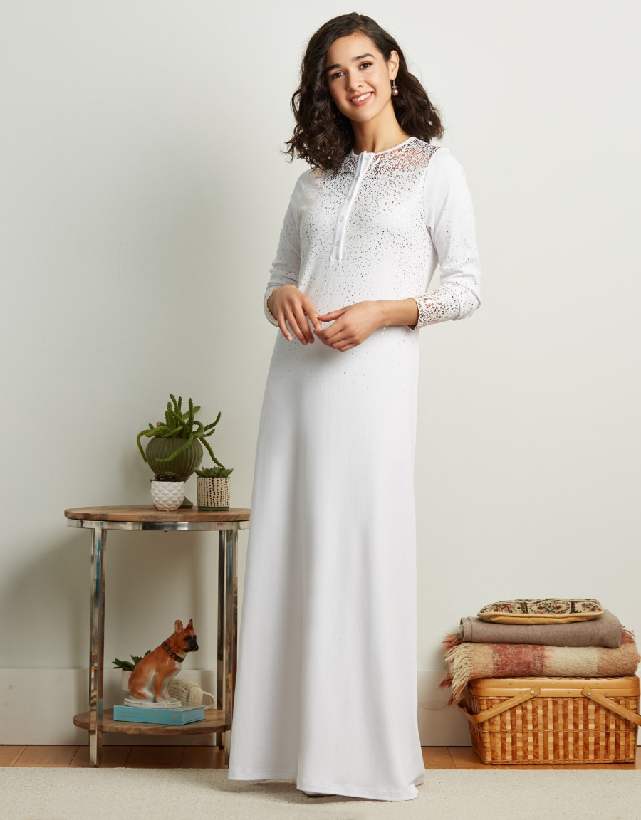 Button Front Nightgown with Gold Ombre Print