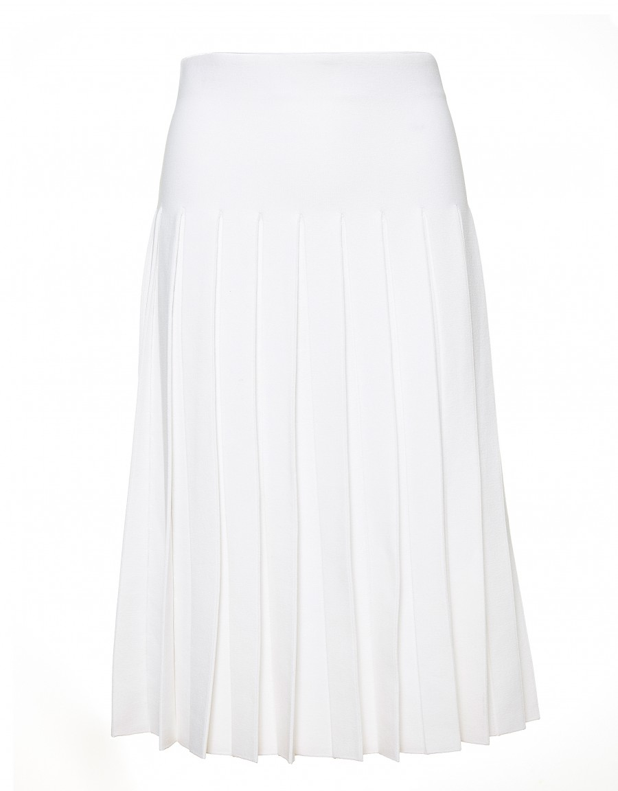 """36"""" Unlined Midi Length Knit Pleat Skirt with Covered Elastic Waistband White"""