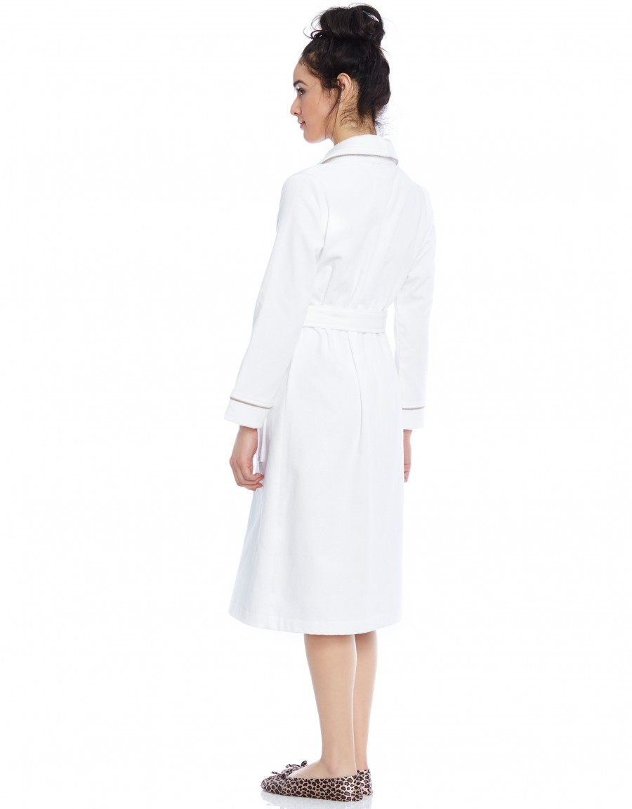 Terry Wrap Belted Short Bathrobe with Contrast Piped Trim