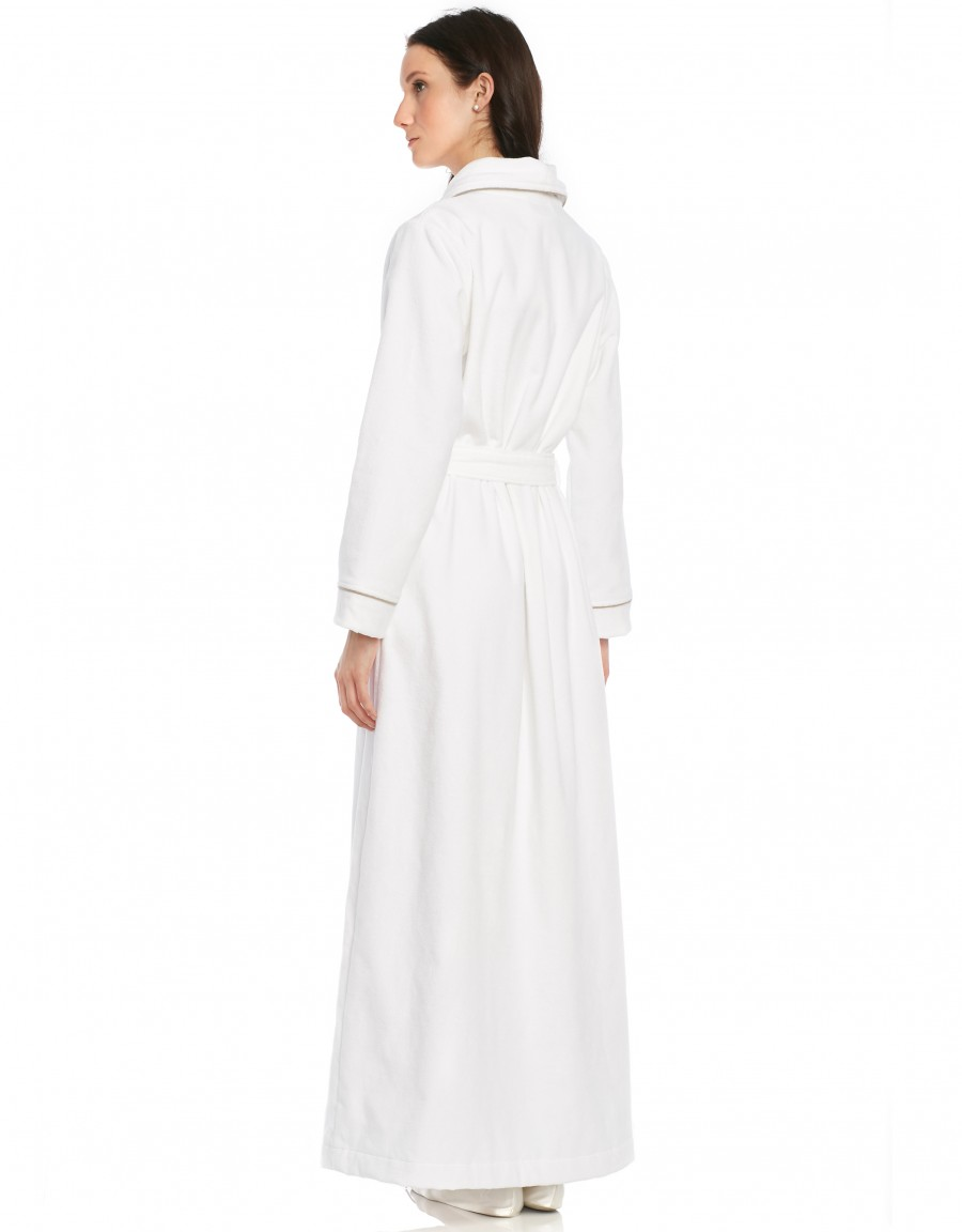 Terry Wrap Belted Bathrobe with Contrast Piped Trim
