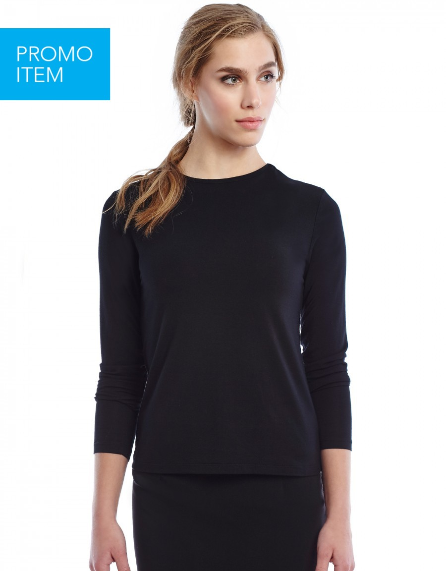 Modal Long Sleeve Shell with Back Button