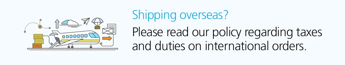 Please read our policy regarding taxes and duties on overseas orders.