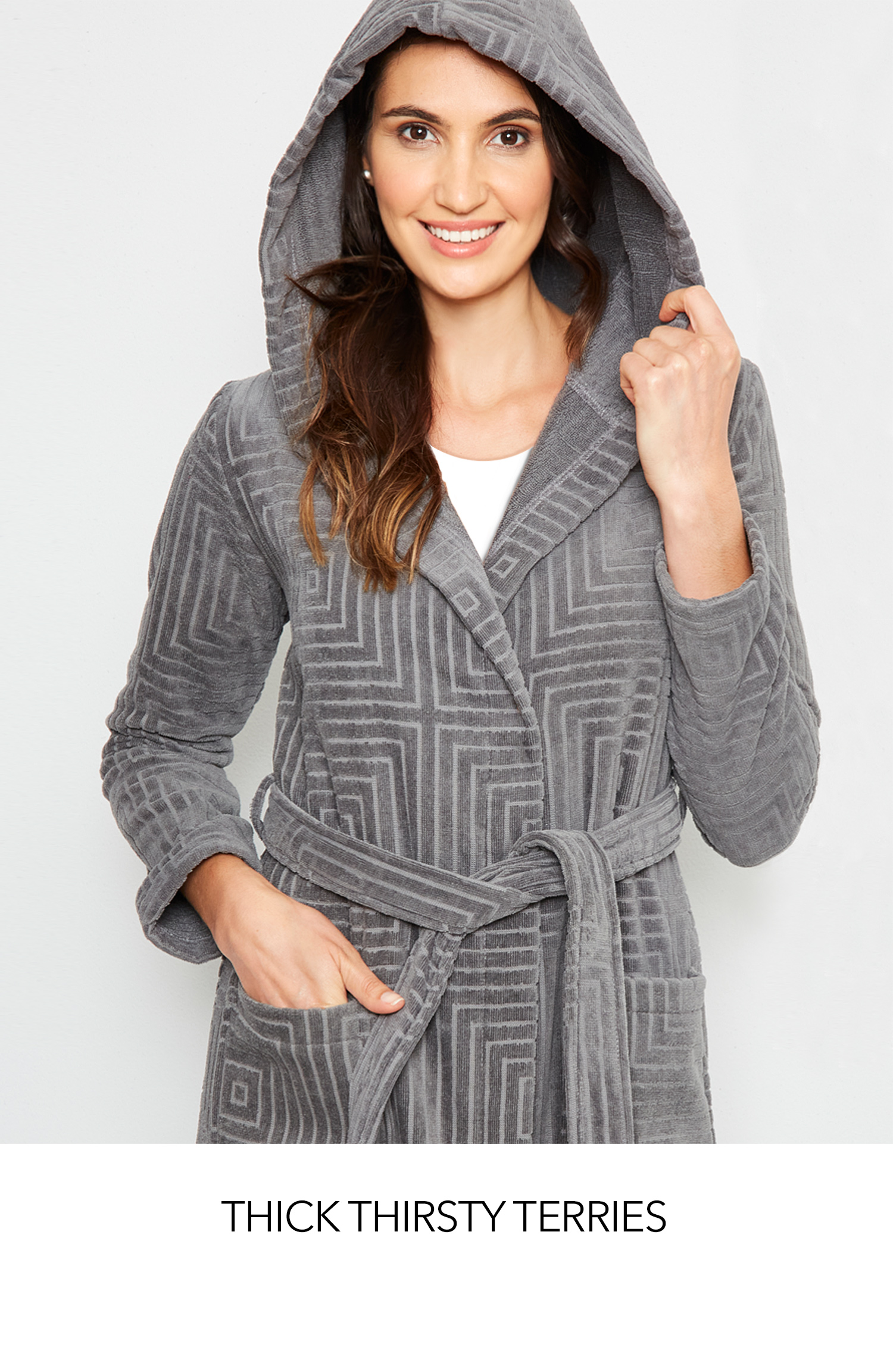 Thick thirsty belted wrap terries in long and short styles.